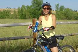 Annie on bicycle